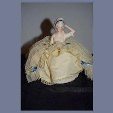 Old Doll China Head Half Doll Pincushion Pin Cushion