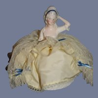 Old Doll China Head Half Doll Pincushion Pin Cushion