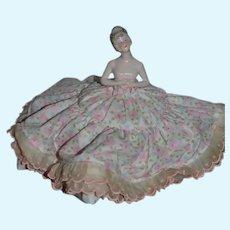 Old Doll China Head Pincushion Pin Cushion Fancy Hair Style