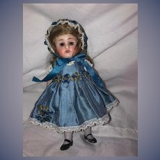 Antique Doll All Bisque Jointed 150 Kestner Glass Eyes Dressed W/ Crown Label
