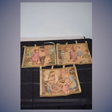 GORGEOUS Old French Tapestry Wall Hanging Children Cats Wonderful Gold Trim Beautiful Scenes Fabric Woven