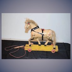 Old Doll Pull Toy Wood Horse Painted On Wood Base W/ Wheels