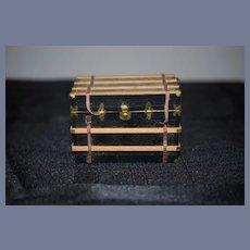 Vintage Doll Artist Miniature Wood Trunk W/ Metal Hardware Dollhouse