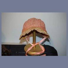 Antique Bonnet Hat for Doll Old Straw Trim Fancy