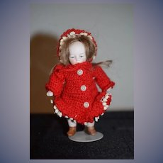 Antique Doll All Bisque Dressed Miniature Dollhouse