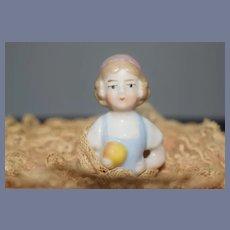 Wonderful Old China Head Half Doll Powder Puff