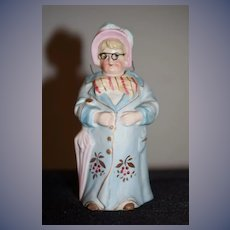 Wonderful All Bisque Doll Figurine lady W/ Glasses Nodder