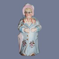 Wonderful All Bisque Doll Figurine lady W/ Glasses Nodder