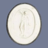 Old Miniature Jasperware Chalkware Framed Figure For Doll Dollhouse Atlas Man
