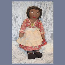 Old Black Cloth Doll Rag Doll Sweet Unusual Face Sewn Features