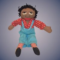 Old Black Cloth Rag Doll Character Raggedy Andy Sweet