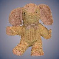 Old Cloth Doll Elephant Button Eyes Unusual