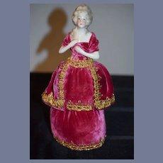 Old Doll China Head Half Doll Fab Clothes Pincushion