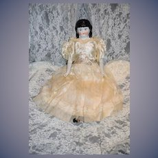 Antique Doll China Head Spill Curl W/ Fancy Dress
