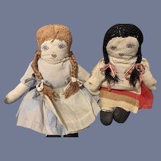 Old TWO Cloth Dolls Rag Dolls Sewn Features Sisters Mitten Hands Sweet Doll