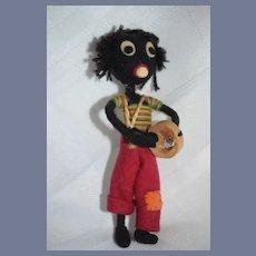 Old Doll Unusual Black Cloth Doll Felt Doll Sweet