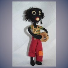 Old Doll Unusual Black Cloth Doll Felt Doll Sweet