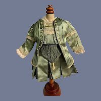 Wonderful Doll Dress Two Piece set Drop Waist Plaid Pleats Fancy Lace Trim