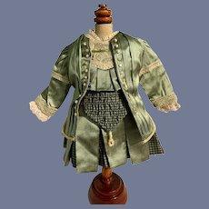 Wonderful Doll Dress Two Piece set Drop Waist Plaid Pleats Fancy Lace Trim