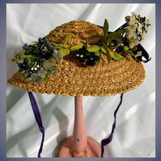Wonderful Old Doll Straw Hat Bonnet Hand Made