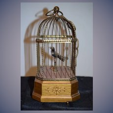 Antique Mechanical Bird Singing in Bird Cage Moves Wind Up Doll Size Petite