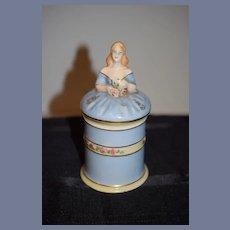 Vintage Taube China Half Doll Powder Jar for Vanity