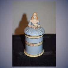 Vintage Taube China Half Doll Powder Jar for Vanity