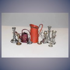 Old Doll Miniature Lot Metal Water Cans Candle Sticks lot For Dollhouse
