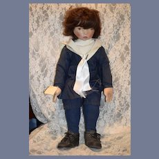 Large Oil Cloth Doll Nancy Latham Sailor Boy Wistful Children
