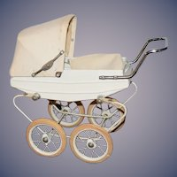 Old Metal Doll Pram Doucet Carriage Buggy Rubber Wheels And Cover Miniature Doll Size