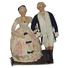 Wonderful Old Doll Set Martha & George Washington Sculpted Cloth Dolls Historical