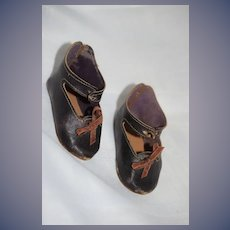 Old Leather Doll Shoes W/ Bows  Charming