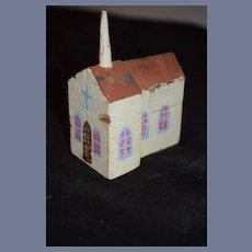 Old Wood Miniature Doll Church Folk Art
