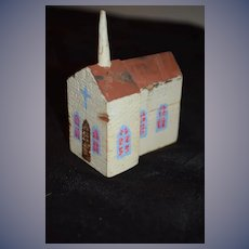 Old Wood Miniature Doll Church Folk Art