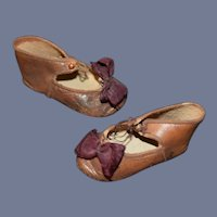 Old Doll Leather Shoes W/ Buttons and Bows