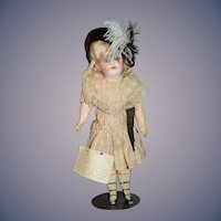Antique French Bisque Doll W/ Antique Clothing Fancy Old Hat Provenance