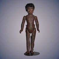 Old Black Doll Papier Mache Miniature Dollhouse Folk Art