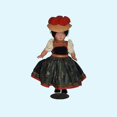 Wonderful Old Celluloid Doll Turtle Mark in Original Costume