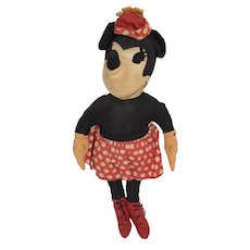 Old Cloth Doll Minnie Mouse Walt Disney