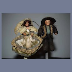 Old Miniature Celluloid Doll Set Original Clothes