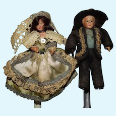 Old Miniature Celluloid Doll Set Original Clothes
