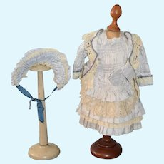 FAB Vintage Hand Made Doll Dress W/ Matching Bonnet French Market GORGEOUS