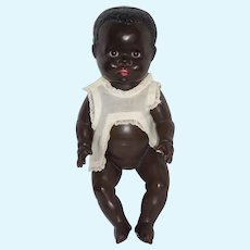 Old Papier Mache Doll Black Toddler Glass Eyes