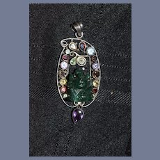 Wonderful Sterling Silver Jade & Stones Custom Made Pendant For Necklace