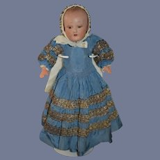 1930's French Doll Celluloid in Antique Outfit Metal Thread Bonnet Baby