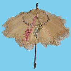 Wonderful Old Doll Parasol Umbrella Petite Size Wood Handle