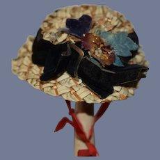 Old Doll Straw Hat Fancy Fashion Doll Bonnet