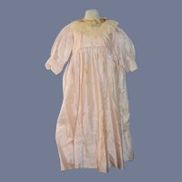 Antique Doll Dress Gingham W/ Lace