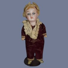 Antique Doll Bisque Head Miniature Dollhouse In Sweet Outfit