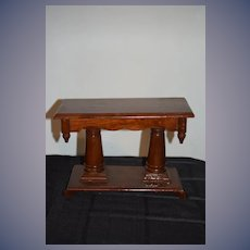 """Old Wood Miniature Doll Table Great Display 9"""" Tall"""